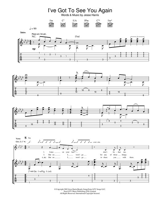 Tablature guitare I've Got To See You Again de Norah Jones - Tablature Guitare