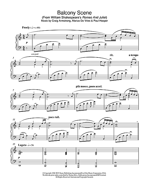 Partition piano Balcony Scene (from Romeo And Juliet) de Craig Armstrong - Piano Solo