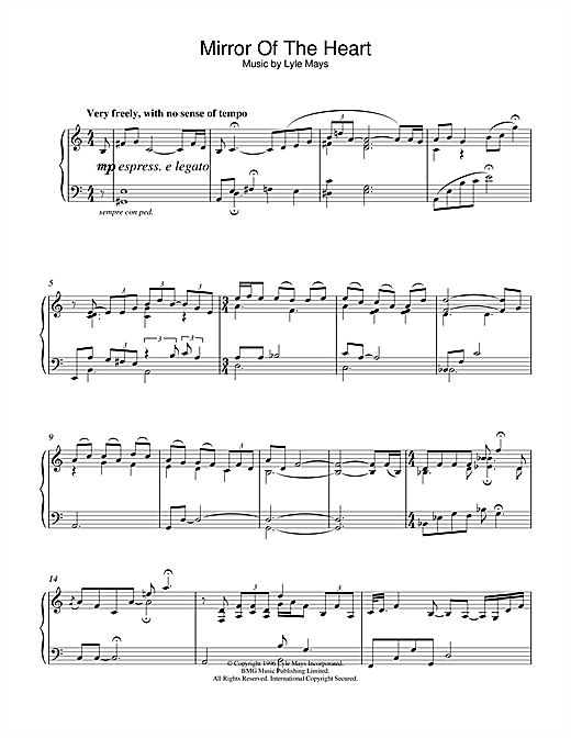 Partition piano Mirror Of The Heart de Lyle Mays - Piano Solo