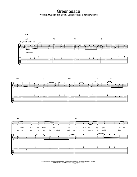 Tablature guitare Greenpeace de James - Tablature Guitare