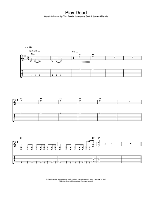 Tablature guitare Play Dead de James - Tablature Guitare