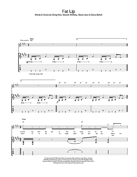 Tablature guitare Fat Lip de Sum 41 - Tablature Guitare