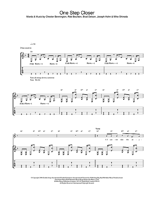 Tablature guitare One Step Closer de Linkin Park - Tablature Guitare