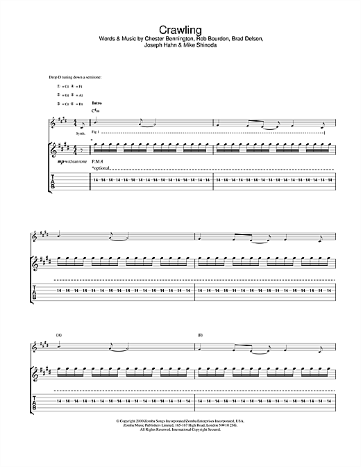 Tablature guitare Crawling de Linkin Park - Tablature Guitare