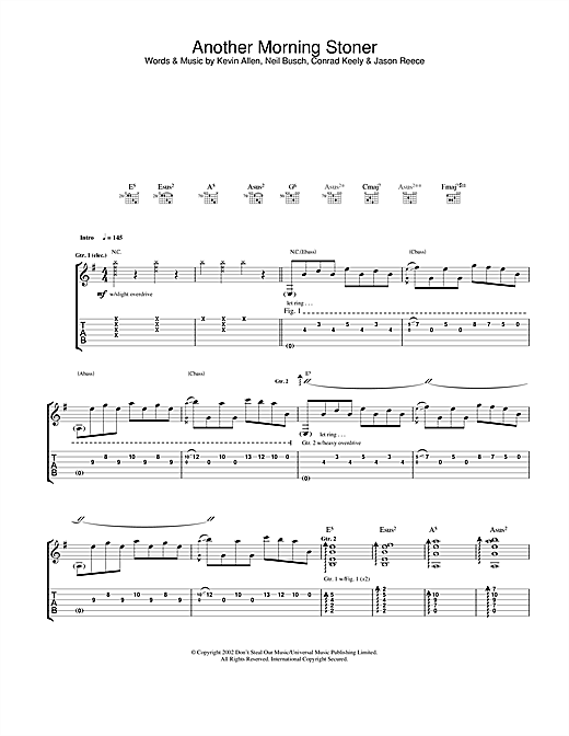 Tablature guitare Another Morning Stoner de And You Will Know Us By The Trail Of Dead - Tablature Guitare