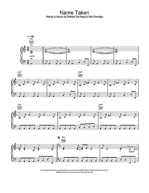 Name Taken Sheet Music