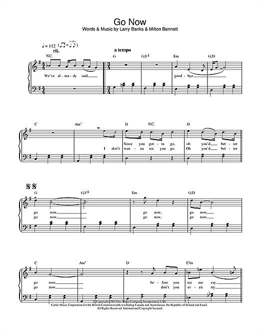 Go Now sheet music by The Moody Blues (Easy Piano – 23892)