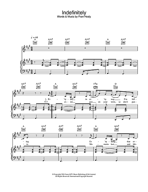 Indefinitely Sheet Music