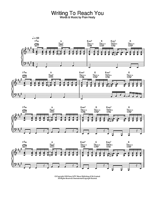 Writing To Reach You Sheet Music
