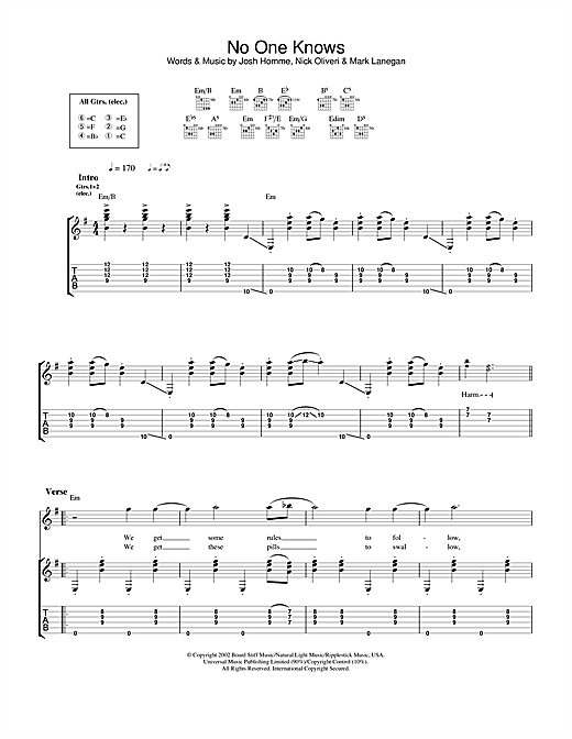 Tablature guitare No One Knows de Queens Of The Stone Age - Tablature Guitare