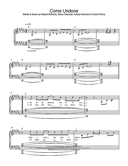 Come Undone Sheet Music