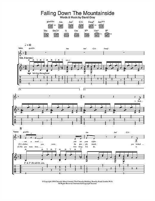 Tablature guitare Falling Down The Mountainside de David Gray - Tablature Guitare