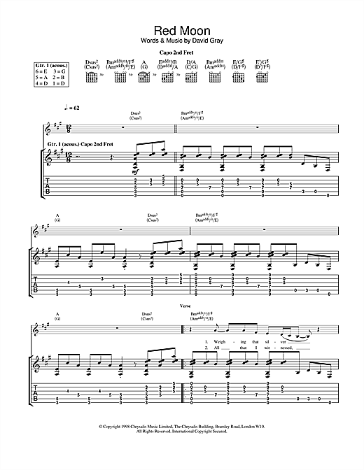 Tablature guitare Red Moon de David Gray - Tablature Guitare