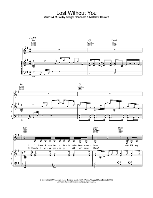Piano without you piano chords : Lost Without You sheet music by Delta Goodrem (Piano, Vocal ...