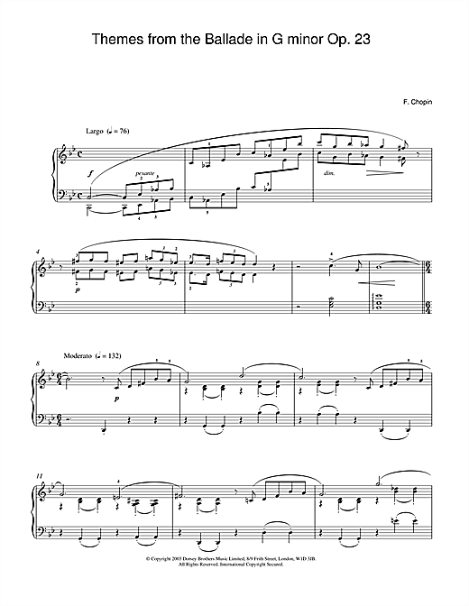 Themes from the Ballade in G minor Op. 23 Sheet Music
