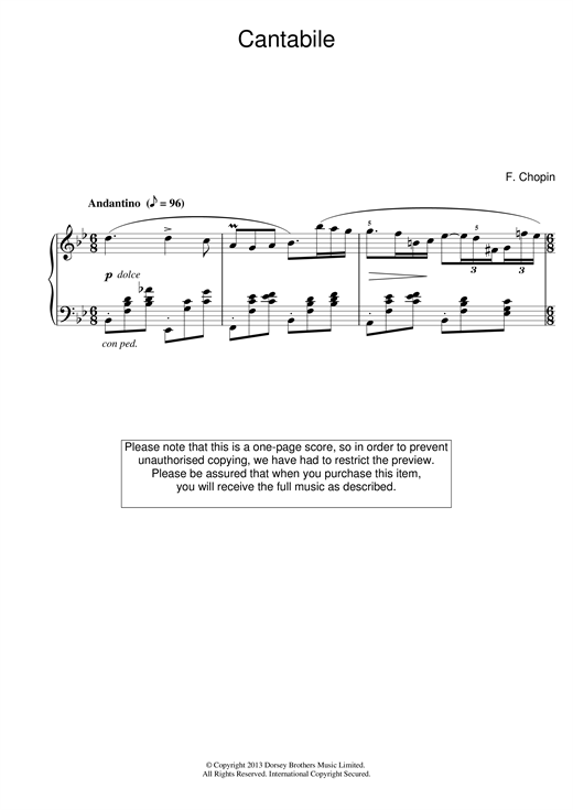 Cantabile in B Flat Major Sheet Music