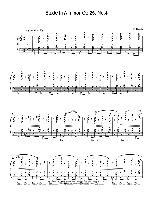 Etude in A Minor, Op.25, No.4 Sheet Music