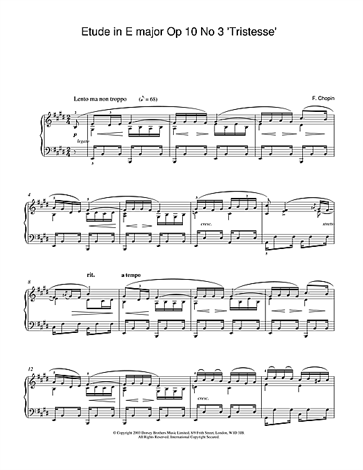 Partition piano Etude in E Major, Op.10, No.3 (Tristesse) de Frederic Chopin - Piano Solo