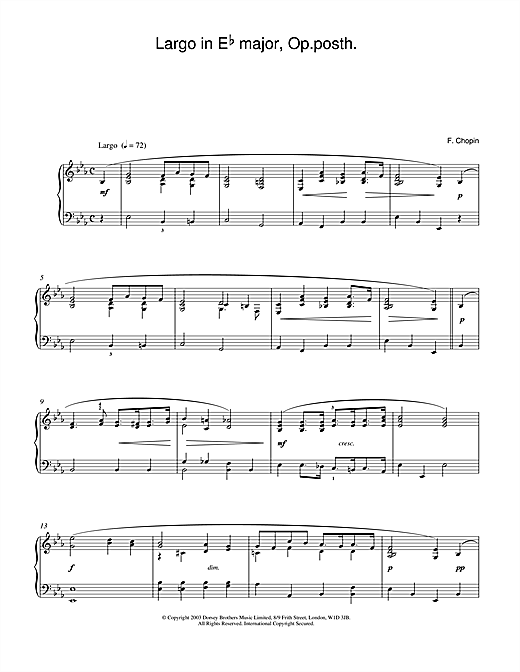 Largo in E Flat major, Op posth. Sheet Music