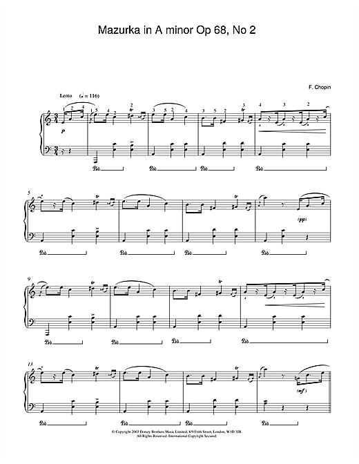 Partition piano Mazurka in A minor Op.68, No.2 de Frederic Chopin - Piano Solo
