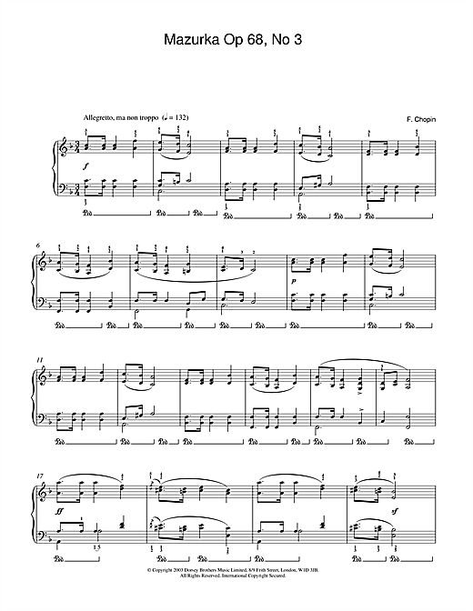 Mazurka Op.68, No.3 Sheet Music