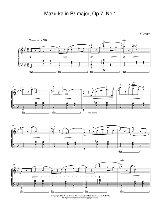 Partition piano Mazurka in Bb major Op.7 No.1 de Frederic Chopin - Piano Solo