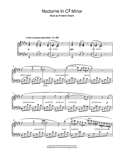 Partition piano Nocturne in C# minor (1830) de Frederic Chopin - Piano Solo