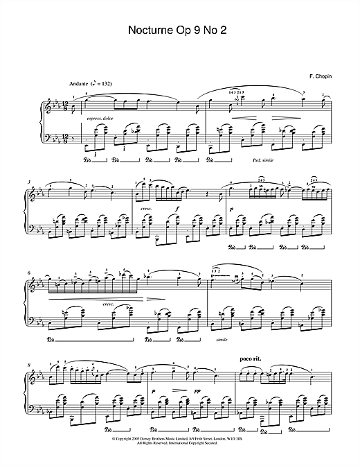 Partition piano Nocturne In Eb Major, Op.9, No.2 de Frederic Chopin - Piano Solo
