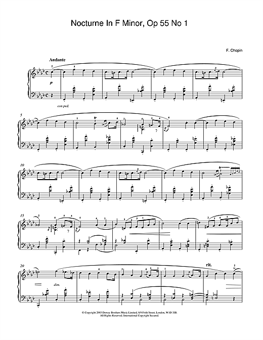 Partition piano Nocturne In F Minor Op.55, No.1 de Frederic Chopin - Piano Solo