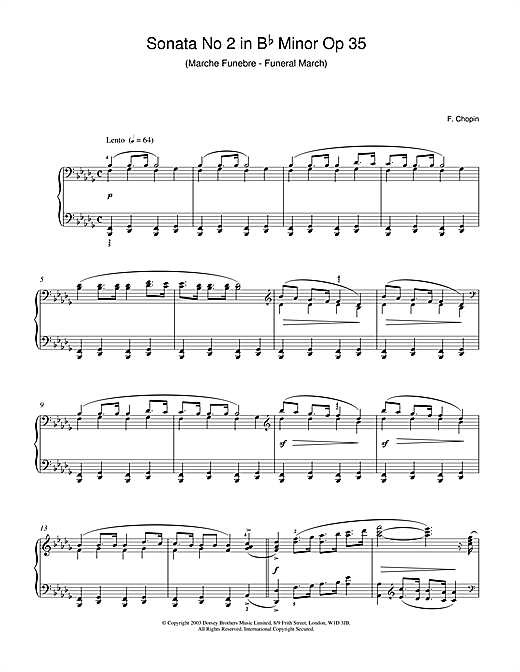 Sonata No.2 in B Flat Minor Op 35 (Funeral March) Sheet Music