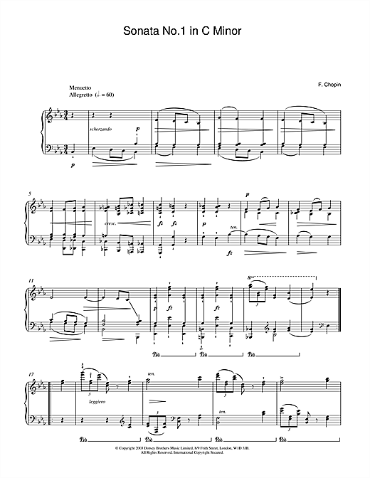 Sonata No.1 in C Minor (2nd Movement: Menuetto) Sheet Music