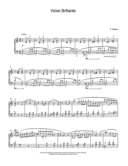 Partition piano Waltz In A Minor, Op. 34, No. 2 (Valse Brillante) de Frederic Chopin - Piano Solo