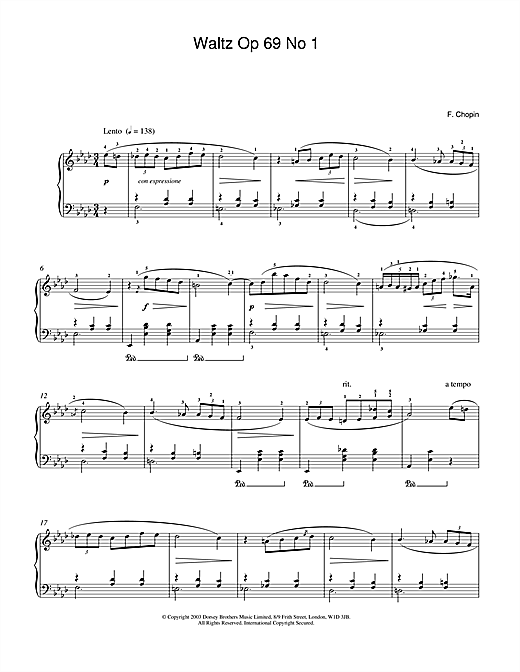 Partition piano Waltz Op.69, No.1 de Frederic Chopin - Piano Solo