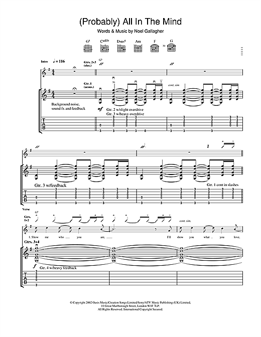 Tablature guitare (Probably) All In The Mind de Oasis - Tablature Guitare