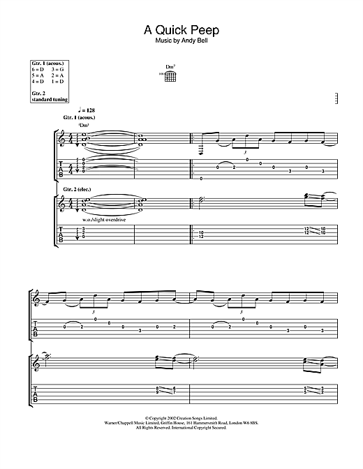 Tablature guitare A Quick Peep de Oasis - Tablature Guitare