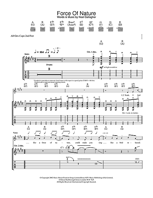 Tablature guitare Force Of Nature de Oasis - Tablature Guitare