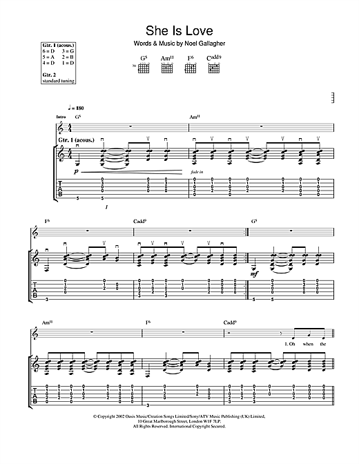 Tablature guitare She Is Love de Oasis - Tablature Guitare