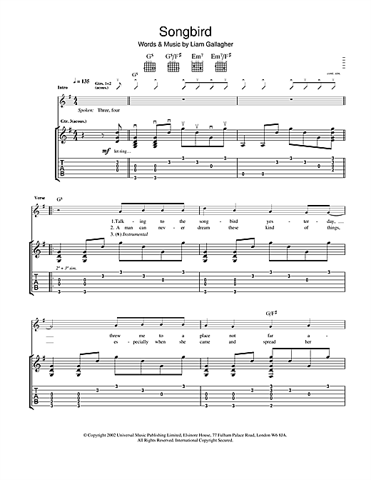 Tablature guitare Songbird de Oasis - Tablature Guitare
