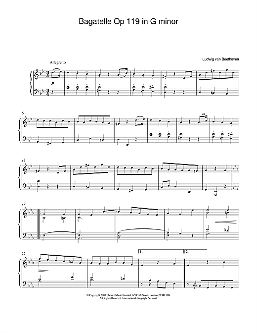 Bagatelle In G Minor, Op. 119, No. 1 Sheet Music