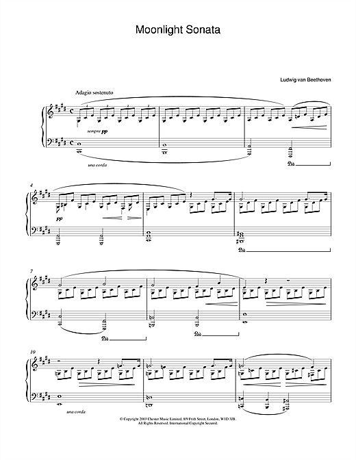 Moonlight Sonata, 1st Movement, Op.27, No.2 Sheet Music
