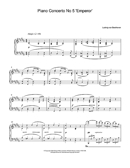 Piano Concerto No.5 (Emperor), E Flat Major, Op.73, Theme from the 2nd Movement Sheet Music