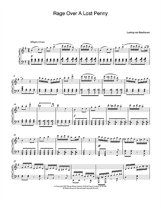 Partition piano Rondo A Capriccio (Rage Over A Lost Penny), Theme from Op.129 de Ludwig van Beethoven - Piano Solo