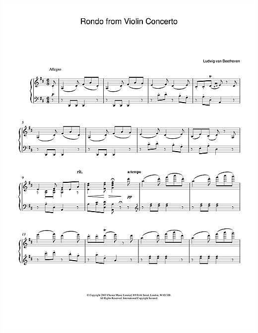 Rondo From Violin Concerto In D Major Op. 62 Sheet Music