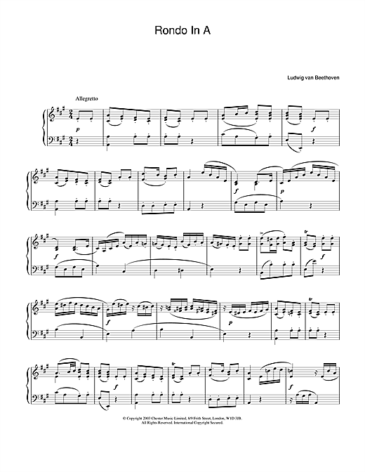 Rondo In A Sheet Music