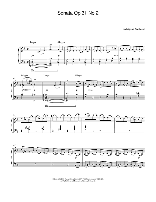 Partition piano Sonata Op.31 No.2 de Ludwig van Beethoven - Piano Solo