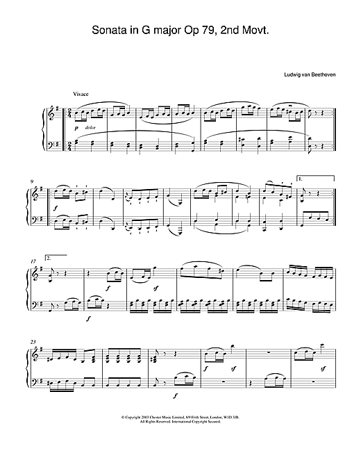 Partition piano Sonata in G major Op. 79, 2nd Movement de Ludwig van Beethoven - Piano Solo