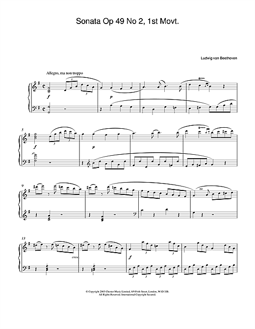 Sonata Op. 49 No. 2, 1st Movement Sheet Music