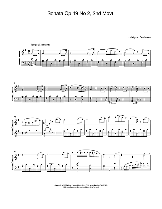 Sonata Op. 49 No. 2, 2nd Movement Sheet Music