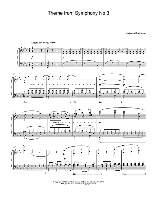 Theme from Symphony No. 3 (Eroica), 1st Movement Sheet Music