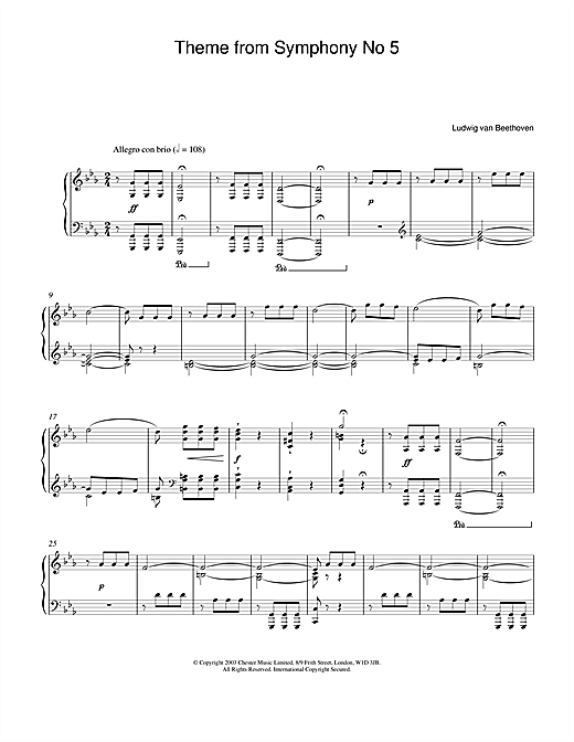 Partition piano Theme from Symphony No. 5, Op. 67 (1st Movement) de Ludwig van Beethoven - Piano Solo